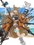 1girl absurdres animal_ears arknights armpits axe beach bell belt black_ribbon black_shorts blue_sky bottle breasts brown_hair ceobe_(arknights) ceobe_(summer_flowers)_(arknights) chain clouds cloudy_sky commentary cross-laced_footwear day dog_ears dog_tail eyelashes fangs full_body grey_shirt hair_between_eyes highres holding holding_weapon infection_monitor_(arknights) jacket leg_up long_hair looking_at_viewer medium_breasts midriff multiple_weapons navel o-ring o-ring_top ocean off_shoulder official_alternate_costume open_clothes open_jacket open_mouth orange_eyes orange_jacket orange_pants outdoors palm_tree pants polearm ribbon sheath sheathed shirt shoes short_shorts shorts sky sleeveless smile sneakers solo staff strap strapless sword tail teeth thigh_strap torn_clothes torn_pants tree tubetop weapon weapon_on_back white_footwear xia_oekaki