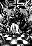 1other absurdres arknights aura chess_piece chessboard coat cross dark_aura doctor_(arknights) facing_viewer greyscale highres kuba mask monochrome pawn_(chess) sitting solo throne