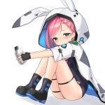 1girl animal_ears blue_eyes blush boots braid canteen crown_braid fingerless_gloves gloves highres hood hooded_jacket jacket kbn317 knees_up last_origin looking_at_viewer m-5_efreeti one-piece_swimsuit pink_hair rabbit_ears short_hair simple_background sitting solo swimsuit white_background