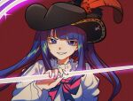 1girl black_headwear blue_eyes blue_hair choker feathers film_grain furudo_erika hat hat_feather highres holding kiliko-san lace lace_choker long_sleeves pink_ribbon pirate_hat red_background ribbon smile solo twintails umineko_no_naku_koro_ni upper_body