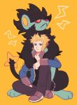 1boy :< bangs black_shirt blonde_hair blue_jacket brown_pants closed_mouth commentary_request gen_4_pokemon green_eyes gym_leader highres jacket luxray male_focus mt_kkrd open_clothes open_jacket pants paws pokemon pokemon_(creature) pokemon_(game) pokemon_dppt shirt shoes sitting toes volkner_(pokemon)