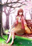 1girl absurdres bag bench blurry blurry_background blush bottle brown_hair brown_skirt cardigan cat cherry_blossoms commentary_request dappled_sunlight day food grass hair_between_eyes high-waist_skirt high_heels highres holding holding_food looking_down on_bench open_cardigan open_clothes orange_cat original outdoors park park_bench petals petticoat petting pink_cardigan pink_eyes pink_footwear plastic_bag ruri-urasue-1224 sandwich shirt shopping_bag sitting skirt smile solo sunlight tree white_shirt