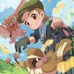 1boy bird bird_keeper_(pokemon) birdcage black_shirt blush brown_hair cage closed_mouth clouds commentary_request day doduo feathers from_below gen_1_pokemon gloves grass green_gloves green_headwear hat holding leaves_in_wind male_focus orange_eyes outdoors overalls pidgey pokemon pokemon_(game) pokemon_lgpe shirt single_glove sky sleeves_rolled_up smile spearow tom_(pixiv10026189)