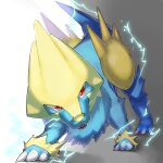 claws commentary_request electricity fangs full_body gen_3_pokemon highres looking_at_viewer manectric mian_(3zandora) no_humans open_mouth pokemon pokemon_(creature) red_eyes solo standing tongue