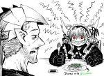 1boy 1girl :> absurdres anger_vein angry black_gloves confused demon_boy demon_girl demon_horns drake_(mazohaha) facial_hair fork gloves gothic gothic_lolita green_bean highres horns husband_and_wife juugoya_(zyugoya) limited_palette lolita_fashion musuko_ga_kawaikute_shikatanai_mazoku_no_hahaoya nightmare_(mazohaha) pointy_ears pointy_nose red_eyes shumai_(food) sideways_mouth sweat sweatdrop triangle_mouth veins white_horns