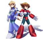 1boy 1girl blonde_hair blue_armor brown_eyes couple deviantart long_hair looking_at_viewer multicolored_hair pose red_armor rockman rockman_x shoulder_armor shoulder_pads sincity2100 smile tenjouin_asuka yellow_eyes yu-gi-oh! yuu-gi-ou yuu-gi-ou_gx yuuki_juudai