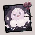 artist_name border bright_pupils commentary_request flower full_body gen_5_pokemon grey_eyes hamhsi_miyar jellicent jellicent_(female) no_humans plant pokemon pokemon_(creature) solo vines watermark