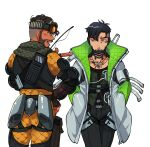 2boys annoyed apex_legends black_gloves black_hair black_pants crypto_(apex_legends) cyborg finger_gun from_behind gloves goggles goggles_on_head green_eyes green_sleeves grey_jacket hand_on_hip highres husagin jacket looking_to_the_side male_focus mirage_(apex_legends) multiple_boys open_mouth pants pointing pointing_to_the_side science_fiction smile walkie-talkie walking white_background