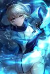1girl absurdres blonde_hair fate/grand_order fate_(series) highres holding holding_sword holding_weapon incoming_attack katana kyo_(maae00) looking_at_viewer okita_sougo okita_souji_(fate) okita_souji_(fate)_(all) samurai scarf short_hair solo sword weapon yellow_eyes
