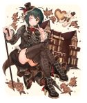 ;) absurdres ahoge argyle_shirt bangs black_footwear black_neckwear blush boots bow bowtie breasts brown_legwear cane commentary corset eyebrows_visible_through_hair flower footwear_ribbon frilled_hat frilled_shirt_collar frills gothic_lolita green_hair grey_shirt hand_up hat hat_feather hat_flower heart high_heel_boots high_heels highres holding holding_cane idolmaster idolmaster_cinderella_girls idolmaster_cinderella_girls_starlight_stage index_finger_raised kohinata_miho lolita_fashion long_sleeves looking_at_viewer mansion medium_breasts mini_hat mini_top_hat one_eye_closed print_legwear rose shirt short_hair sirurabbit smile stuffed_animal stuffed_bunny stuffed_toy thigh-highs top_hat yellow_eyes