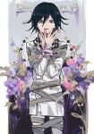 1boy bandages bangs black_hair blood bloody_hands border bound checkered checkered_neckwear checkered_scarf copyright_name cowboy_shot danganronpa_(series) danganronpa_v3:_killing_harmony double-breasted finger_to_mouth flower grey_jacket grey_pants hair_between_eyes hands_up iko_831 jacket long_sleeves looking_at_viewer male_focus ouma_kokichi pants parted_lips pink_blood pink_eyes pink_flower scarf short_hair smile solo tied_up violet_eyes white_border