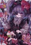 1girl absurdres cake cake_slice eyepatch food food_on_head garter_belt gothic_lolita highres holding holding_whip lace lace-trimmed_eyepatch lace_trim lolita_fashion object_on_head original purple_hair purple_ribbon ribbon solo thigh-highs tira_27 twintails violet_eyes whip