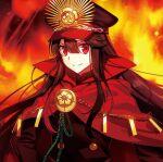 1girl black_hair cloak fate/grand_order fate_(series) fire fuyuki_(neigedhiver) hat long_hair looking_at_viewer military_hat oda_nobunaga_(fate) oda_nobunaga_(fate)_(all) red_eyes smile standing uniform