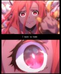 1girl anime_coloring bangs blurry close-up commentary crown dark_skin depth_of_field english_text engrish_text granblue_fantasy highres long_hair mirei_kh13 moon outstretched_arm outstretched_hand ranguage reaching red_eyes reflection reflective_eyes smile solo very_long_hair yatima