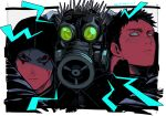 3boys arm_around_shoulder blood blood_on_face character_request check_character dorohedoro face facial_mark gas_mask kaiman_(dorohedoro) kokusoji looking_at_another male_focus multiple_boys risu_(dorohedoro) sideburns spiked spoilers sweatdrop upper_body