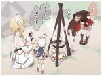 3girls :d ^^^ backpack bag bare_shoulders bent_over black_gloves blonde_hair blush boots brown_gloves campfire commentary_request day detached_sleeves dress flower food genshin_impact gloves hair_flower hair_ornament halo highres klee_(genshin_impact) knee_boots long_hair long_sleeves lumine_(genshin_impact) multiple_girls open_mouth outdoors paimon_(genshin_impact) partially_fingerless_gloves profile red_dress single_thighhigh sleeveless sleeveless_dress smile squatting steam thigh-highs thighhighs_under_boots translation_request white_dress white_flower white_footwear white_hair white_legwear white_sleeves yukie_(kusaka_shi)