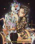 1980s_(style) 1girl artist_name earrings english_commentary english_text floral_dress flower hair_behind_ear hanavbara heize_(singer) highres hug jewelry k-pop korean_text long_hair lyrics parted_lips real_life retro_artstyle shiny skeleton solo wheelchair