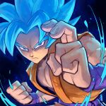 1boy blue_hair dragon_ball dragon_ball_super fighting_stance garrett_hanna glowing glowing_hair looking_at_viewer male_cleavage male_focus muscular muscular_male serious shirt sleeveless sleeveless_shirt solo son_goku spiky_hair super_saiyan super_saiyan_god upper_body