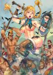 1girl 4boys abs armor armpits artist_name axe battle_axe bird blonde_hair blue_eyes braid breasts dated f.s. highres multiple_boys muscular muscular_female open_mouth original outdoors shield sweat sword tagme toeless_footwear twin_braids warrior weapon