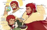 2boys absurdres beard blush cape collage facial_hair fate/zero fate_(series) from_side fur-trimmed_cape fur_trim highres iskandar_(fate) large_pectorals leather male_focus multiple_boys multiple_views muscular muscular_male official_alternate_costume profile red_cape red_eyes redhead shirt sigppang_(2shot00002) smile t-shirt translation_request upper_body waver_velvet white_shirt