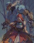 1boy 1girl animal_ears ashe_(overwatch) axe bared_teeth bayonet black_sclera blue_dress blue_eyes bob_(overwatch) bodice bonnet claws colored_sclera crazy_eyes crazy_smile crossdressing dress fingerless_gloves gloves gun hair_over_one_eye height_difference highres holding holding_gun holding_weapon hood hood_up little_red_ashe official_alternate_costume overwatch pajamas red_dress red_hood rifle robot scar scar_across_eye scar_on_arm shadowyahaha silver_hair weapon wolf_ears