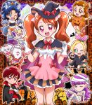 6+girls :d ;d animal_costume animal_ears arisugawa_himari arm_strap bandages bangs black_cape black_coat black_headwear blonde_hair blue_bow blue_eyes blue_gloves blue_hair blue_pants blush bow bowtie breasts brown_eyes brown_hair cape chibi chourou_(precure) closed_mouth coat eyebrows_visible_through_hair fang food_themed_hair_ornament fur-trimmed_shorts fur_trim gloves hair_bow hair_ornament hairband halloween halloween_costume hanzou hat hat_bow high_ponytail hood hood_down hooded_coat kenjou_akira kirahoshi_ciel kirakira_precure_a_la_mode kirarin_(precure) kotozume_yukari layered_skirt long_hair looking_at_viewer medium_breasts multiple_girls naked_bandage one_eye_closed open_mouth orange_scrunchie orange_shorts outstretched_arms pants paw_gloves paws precure pumpkin_costume pumpkin_hair_ornament purple_hair red_bow red_eyes red_hairband red_neckwear red_vest redhead scrunchie shiny shiny_hair short_hair short_shorts shorts skirt smile striped striped_skirt swept_bangs tail tategami_aoi usami_ichika vampire very_long_hair vest w_over_eye white_gloves witch_hat wolf_costume wolf_ears wolf_tail wrist_scrunchie yellow_footwear