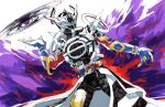1boy armor belt black_bodysuit blue_gloves bodysuit chikichi coat commentary_request cowboy_shot dutch_angle gloves hand_up helmet kamen_rider kamen_rider_build_(series) kamen_rider_evol legs_apart male_focus neon_trim purple_background shoulder_armor shoulder_spikes sketch solo spikes standing white_coat