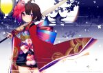 1girl architecture bangs brown_hair closed_mouth detached_sleeves east_asian_architecture egasumi fish_hair_ornament hair_ornament holding holding_umbrella japanese_clothes kimono lantern long_sleeves looking_at_viewer moon obi original pagoda prophet_chu red_eyes sash short_hair sleeves_past_wrists solo umbrella wide_sleeves