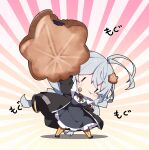 1girl :t antenna_hair arm_up bangs black_dress black_jacket blush braid breasts chibi closed_mouth collared_shirt commentary_request dress food food_on_face full_body fur-trimmed_jacket fur_trim grey_hair hair_between_eyes highres holding holding_food jacket kizuna_akari large_breasts long_hair long_sleeves milkpanda minigirl open_clothes open_jacket orange_legwear pantyhose puffy_cheeks puffy_long_sleeves puffy_sleeves shirt solo standing striped striped_legwear sunburst sunburst_background translation_request twin_braids vertical-striped_legwear vertical_stripes very_long_hair voiceroid wavy_mouth white_shirt |_|