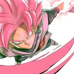 1boy dougi dragon_ball dragon_ball_super energy_sword fighting_stance foreshortening garrett_hanna goku_black male_focus muscular muscular_male pink_eyes pink_hair smug solo super_saiyan super_saiyan_rose sword weapon
