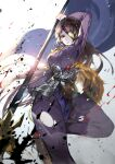1girl blue_cape breasts brown_hair cape character_request faulds highres holding holding_polearm holding_weapon large_breasts long_hair long_sleeves looking_at_viewer one_eye_covered pants parted_lips polearm purple_pants red_eyes solo tower_of_saviors vardan very_long_hair weapon