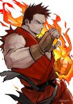 1boy artist_name belt black_belt blue_eyes boku_no_hero_academia brown_gloves clenched_hand clenched_teeth commentary cosplay dougi facial_hair fingerless_gloves fire flaming_hand furrowed_eyebrows gloves hand_up kadeart ken_masters ken_masters_(cosplay) looking_at_viewer male_focus muscular muscular_male no_pupils redhead reward_available sanpaku short_hair simple_background sleeveless solo spiky_hair street_fighter stubble symbol_commentary teeth todoroki_enji torn_clothes torn_sleeves upper_body white_background