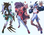 3boys alternate_color arm_up bangs baseball_cap black_hair black_headwear blue_headwear bodysuit clenched_teeth closed_mouth commentary cropped_jacket dynamax_band eyeshadow floating_hair gloves grey_hair grin hat holding holding_poke_ball hood hoodie index_finger_raised jacket knees leggings leon_(pokemon) long_hair makeup male_focus mikripkm multicolored_hair multiple_boys partially_fingerless_gloves piers_(pokemon) poke_ball pokemon pokemon_(game) pokemon_swsh purple_hair raihan_(pokemon) sandals shirt shoes short_sleeves shorts single_glove smile teeth toes two-tone_hair