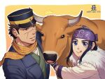 1boy 1girl :q ainu ainu_clothes animal asirpa black_eyes black_hair blue_coat brown_eyes bull chinese_zodiac coat foxvulpine golden_kamuy green_kimono happy_new_year hat headband highres imperial_japanese_army japanese_clothes kepi kimono long_sleeves military military_hat military_uniform new_year scar scar_on_cheek scar_on_face scar_on_mouth scar_on_nose scarf short_hair sideburns sidelocks simple_background smile sugimoto_saichi tongue tongue_out uniform year_of_the_ox yellow_scarf