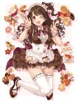 1girl ;d absurdres apron arm_up bangs blush bow bowtie breasts brown_dress brown_footwear brown_hair cake cake_slice commentary double_v dress eyebrows_visible_through_hair food frilled_apron frilled_dress frills hair_bow hand_up highres idolmaster idolmaster_cinderella_girls idolmaster_cinderella_girls_starlight_stage jumping long_hair looking_at_viewer maid_headdress medium_breasts one_eye_closed open_mouth puffy_short_sleeves puffy_sleeves purple_bow ribbon-trimmed_legwear ribbon_trim shimamura_uzuki shoes short_sleeves side_ponytail sirurabbit smile solo tea_set teeth thigh-highs upper_teeth v waist_apron white_apron white_legwear wrist_cuffs