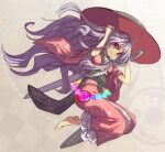 1girl alternate_hairstyle barefoot bowl bowl_hat breasts circle commentary_request full_body hands_on_own_head hands_up hat japanese_clothes kimono long_hair long_sleeves looking_at_viewer needle needle_sword obi purple_hair sash shope sleeves_pushed_up smile solo sukuna_shinmyoumaru touhou triangle very_long_hair violet_eyes wide_sleeves