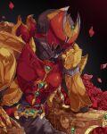 1boy armor belt black_background black_bodysuit black_headwear bodysuit breastplate chikichi commentary_request emerald_(gemstone) gauntlets gem gloves hand_up head_rest helmet highres kamen_rider kamen_rider_kiva kamen_rider_kiva_(emperor_form) kamen_rider_kiva_(series) kivat-bat_iii male_focus petals red_eyes ruby_(gemstone) shoulder_armor simple_background sitting solo_focus throne upper_body utility_belt yellow_gloves