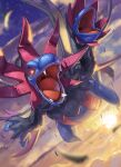 above_clouds black_fur blurry commentary fangs gen_5_pokemon glowing glowing_eyes highres hydreigon multiple_heads no_humans open_mouth pokemon pokemon_(creature) red_eyes solo spareribs sun tongue