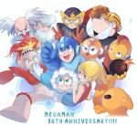 1girl 6+boys ^_^ albert_w_wily anniversary arm_cannon arm_up armor bald bangs bare_shoulders beard black_eyes black_sclera blade blonde_hair blue_coat blue_eyes blue_headwear blue_shirt blush blush_stickers bodysuit bomb bomberman_(rockman) boots breastplate chikichi child clenched_hand clenched_hands closed_eyes closed_mouth coat colored_sclera colored_skin commentary copyright_name cutman dress elecman english_commentary english_text everyone eyebrows_visible_through_hair facial_hair fire fireman from_behind fur-trimmed_hood fur_trim fuse gloves green_eyes grey_headwear grin gutsman hand_up hands_up happy helmet highres holding holding_bomb hood iceman jpeg_artifacts knee_boots labcoat lightning_bolt long_sleeves looking_back looking_up mask mixed-language_commentary mohawk multiple_boys mustache old old_man one-eyed open_mouth orange_gloves orange_skin outstretched_arm parka pointing ponytail red_dress red_eyes red_gloves redhead rockman rockman_(character) rockman_(classic) roll_(rockman) scratching_head shiny shiny_skin shirt short_hair shoulder_armor sidelocks simple_background sleeveless sleeveless_dress smile spread_legs sweat teeth thomas_light tied_hair uneven_eyes v vambraces w weapon white_background white_bodysuit white_coat white_footwear white_gloves white_hair yellow_devil yellow_gloves yellow_headwear yellow_skin