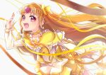 1girl :d absurdres agura_dou backlighting bow brooch bubble_skirt choker circlet cowboy_shot cure_muse_(yellow) earrings frills hair_bow heart heart_earrings highres jewelry leaning_forward long_hair looking_at_viewer magical_girl open_mouth orange_hair pink_eyes precure shirabe_ako signature simple_background skirt smile solo suite_precure white_background yellow_bow yellow_neckwear yellow_skirt yellow_theme
