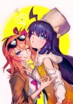 2girls :q ahoge asymmetrical_docking bangs blue_eyes breast_press breasts commentary_request eyewear_on_head fur_collar fur_hat girls_frontline hair_ribbon hat heart jacket kalina_(girls_frontline) long_hair looking_at_viewer medium_breasts money_gesture multiple_girls one_eye_closed orange_hair purple_hair ribbon side_ponytail smile stechkin_(girls_frontline) sunglasses syokumotu_gohan tongue tongue_out upper_body ushanka
