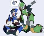 2boys ? armor black_bodysuit blue_background blue_footwear blue_gloves blue_headwear bodysuit boots breastplate chikichi closed_eyes commentary eating english_commentary food food_on_face full_body gloves green_footwear grey_gloves gyroman hands_up holding holding_food knee_boots knee_pads kneeling kuji-in leaning_forward looking_at_another looking_down male_focus mixed-language_commentary multiple_boys ninja onigiri orange_eyes propeller rice rice_on_face rockman rockman_3 rockman_5 shadowman shoulder_armor shuriken simple_background sitting sketch speech_bubble spread_legs sweat talking vambraces