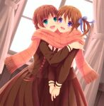 2girls braid brown_hair curtains frilled_scarf fukuzawa_yumi green_eyes hand_on_another's_shoulder hug iizuka_ena maria-sama_ga_miteru multiple_girls open_mouth ribbon scarf school_uniform serafuku shared_scarf shimazu_yoshino skirt twin_braids twintails valentine violet_eyes window yuri