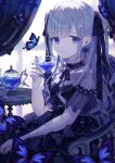 1girl bangs black_dress black_nails blue_butterfly blue_eyes breasts bug butterfly crying crying_with_eyes_open cup curtains dress eyebrows_visible_through_hair gothic_lolita hair_behind_ear hair_ornament hairclip highres holding holding_cup insect kappe_reeka lolita_fashion original small_breasts solo teacup teapot tears two_side_up white_hair window