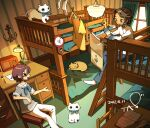 2girls anchor bed brown_hair bunk_bed cat chair curtains dated desk desk_lamp grey_shirt index_finger_raised lamp long_sleeves multiple_girls open_mouth original pants paper pencil profile shadow shirt short_hair short_sleeves signature sitting smile socks tao_(tao15102) white_cat white_pants white_shirt window