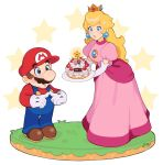 1boy 1girl blonde_hair blue_eyes brown_hair cake crown dress earrings facial_hair fingers_together food gloves highres jewelry jivke long_hair looking_at_another mar10 mar10th mario mario_(series) mustache nintendo open_mouth overalls pink_dress princess_peach simple_background star_(symbol) starman_(mario) super_mario_bros. surprised white_background white_gloves wide-eyed
