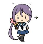 1girl akebono_(kancolle) bell black_legwear blue_sailor_collar blue_skirt brown_gloves chibi commentary_request crossed_legs flower full_body gloves hair_bell hair_flower hair_ornament jingle_bell kantai_collection long_hair looking_at_viewer pleated_skirt purple_hair romaji_commentary sailor_collar school_uniform serafuku short_sleeves side_ponytail simple_background skirt solid_oval_eyes solo sparkle thigh-highs tsumorin_(tumori) v very_long_hair white_background