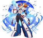 1boy ;d alternate_costume android axl balloon clouds cloudy_sky forehead_jewel formal full_body green_eyes grin hand_on_hip helmet highres looking_at_viewer male_focus mizuno_keisuke necktie official_art one_eye_closed open_mouth orange_hair ribbon rockman rockman_x rockman_x7 rockman_x_dive scar screw sky smile solo spiky_hair suit transparent_background v white_day white_suit