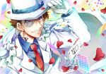 1boy adjusting_clothes adjusting_headwear arm_up bangs blue_eyes blue_shirt brown_hair cape card club_(shape) collared_shirt commentary_request dress_shirt english_text falling_card falling_petals formal gloves grin hair_between_eyes hat heart jacket joker_(card) kaitou_kid kaya_(hydego) long_sleeves looking_at_viewer magic_kaito male_focus meitantei_conan monocle monocle_chain multicolored multicolored_background necktie number petals playing_card red_neckwear seven_of_hearts shirt short_hair smile solo suit teeth three_of_clubs top_hat upper_body white_cape white_gloves white_headwear white_jacket white_suit