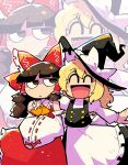 2girls :d :i ^_^ ^o^ absurdres apron ascot blonde_hair bow braid brown_eyes brown_hair closed_eyes detached_sleeves friends hair_bow hair_tubes hakurei_reimu hand_on_another's_shoulder hands_together hat highres japanese_clothes kirisame_marisa long_hair miko multiple_girls nontraditional_miko open_mouth rariatto_(ganguri) short_hair sidelocks sleeves smile touhou white_apron white_sleeves witch witch_hat yellow_neckwear zoom_layer